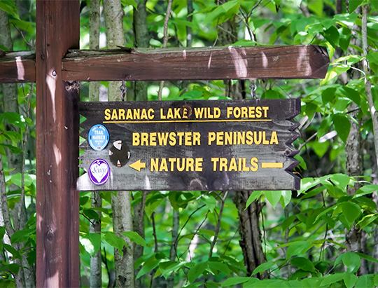 Trailhead sign for the Peninsula Nature Trails, Lake Placid (27 July 2017)